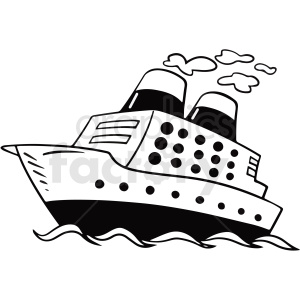 black and white cartoon cruise ship vector clipart clipart. Commercial use image # 411755