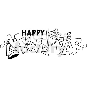 happy new year cartoon vector clipart clipart. Royalty-free image # 411771