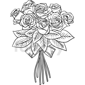 black and white rose bouquet vector clipart clipart. Commercial use image # 411781