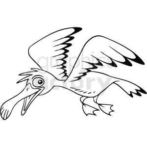 black and white cartoon seagull vector clipart clipart. Royalty-free image # 411803