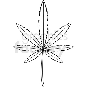 black and white cartoon marijuana leaf vector clipart