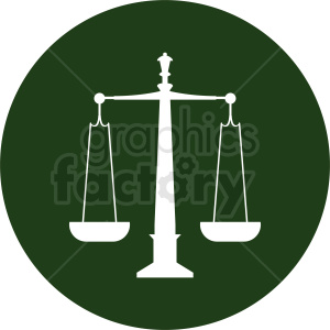scale of justice vector clipart green icon