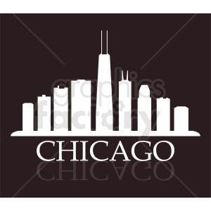 Chicago city skyline vector on dark background clipart. Commercial use image # 412203