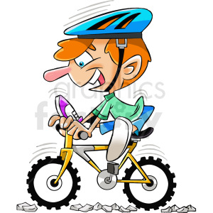 cartoon mountain biker clipart. Royalty-free image # 412396