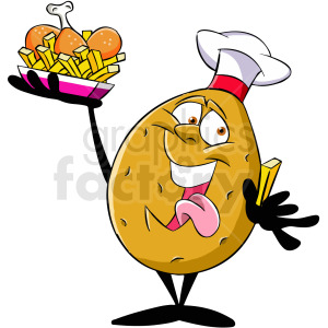 cartoon potato chef serving dinner