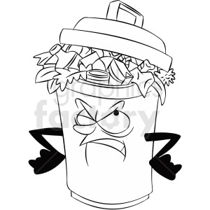 black and white cartoon full trash can character clipart. Royalty-free image # 412436