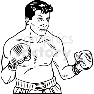 black and white retro boxer vector clipart clipart. Royalty-free image # 412458