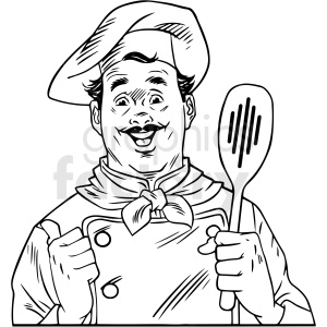 black white vintage chef holding spoon vector clipart clipart. Commercial use image # 412534