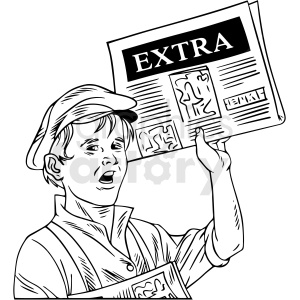 black white vintage boy delivering newspaper vector clipart clipart. Royalty-free image # 412536