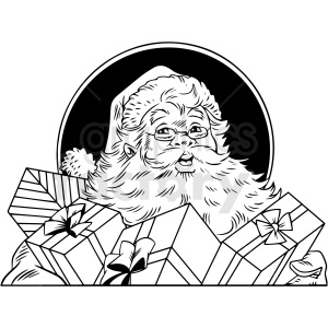 black white vintage santa vector clipart clipart. Commercial use image # 412547