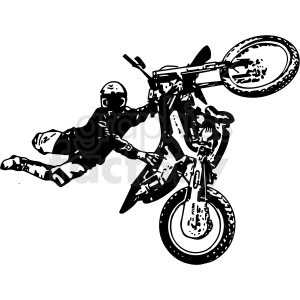 black and white motocross rider doing tricks vector illustration clipart. Commercial use image # 412604