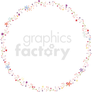 pink floral circle border vector clipart clipart. Commercial use image # 412621