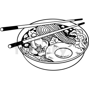 black white noodle bowl vector clipart clipart. Commercial use image # 412637