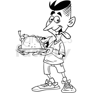 black white man eating taco vector clipart clipart. Commercial use image # 412640