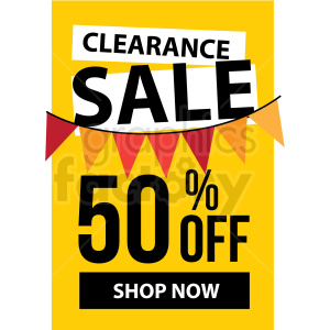 yellow 50 percent off clearance sale shop now icon vector clipart clipart. Commercial use image # 412675