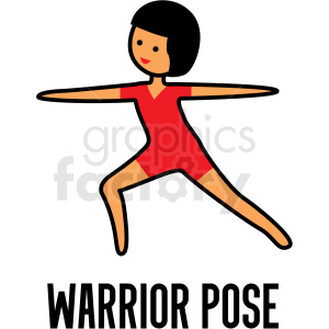 girl doing yoga warrior pose vector clipart clipart. Commercial use image # 412789