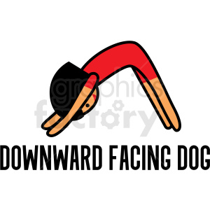 girl doing yoga downward facing dog pose vector clipart clipart. Royalty-free image # 412799