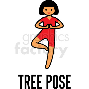 girl doing yoga tree pose vector clipart clipart. Royalty-free image # 412816
