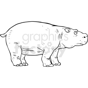 black and white hippopotamus vector clipart clipart. Commercial use image # 412918