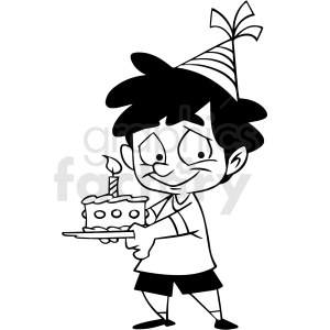 black and white cartoon boy holding birthday cake vector clipart clipart. Royalty-free image # 413124