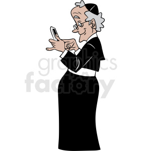 nun laughing at her phone vector clipart