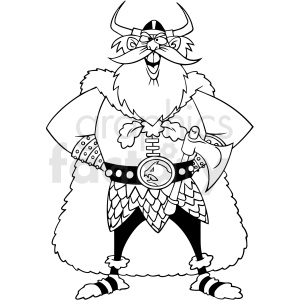 black and white cartoon viking character vector clipart