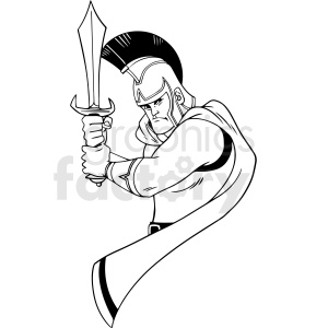 black and white cartoon trojan fighter vector clipart clipart. Royalty-free image # 413159