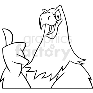 black and white cartoon eagle character vector clipart clipart. Commercial use image # 413194
