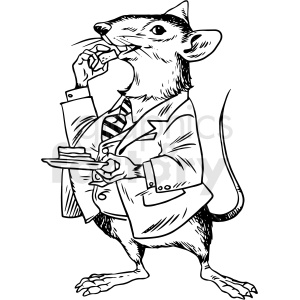 black and white rat eating cake vector clipart clipart. Royalty-free image # 413204