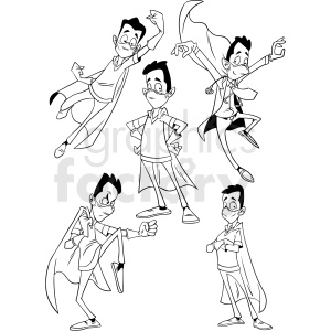 black and white cartoon doctor set vector clipart clipart. Royalty-free image # 413232