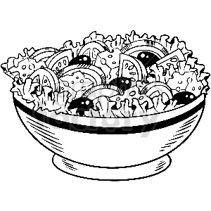 black and white salad vector clipart clipart. Commercial use image # 413298