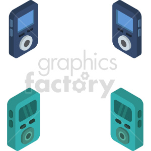 isometric mp3 player vector icon clipart 1