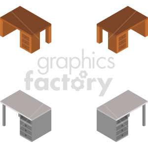 isometric desk vector icon clipart 1