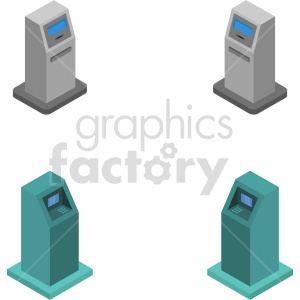 isometric atm vector icon clipart 6