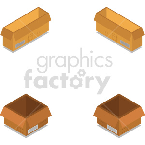 isometric boxes vector icon clipart 8