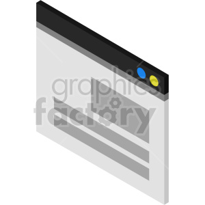 isometric browser window vector icon clipart clipart. Commercial use image # 414543