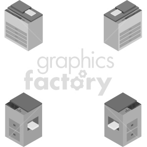 isometric copy machine vector icon clipart clipart. Commercial use image # 414592