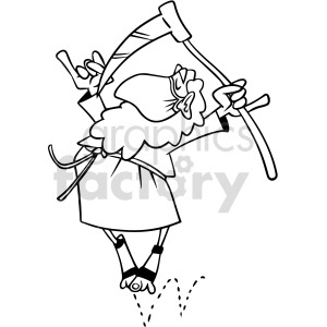 black and white 2020 father time wearing mask dancing vector clipart clipart. Commercial use image # 414662