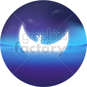 bunny moon vector clipart icon clipart. Commercial use image # 414730