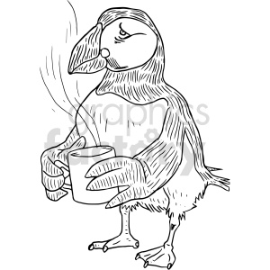 having coffee puffin black and white clipart clipart. Commercial use image # 414747