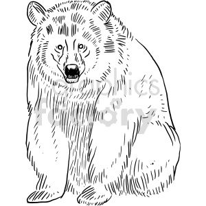 bear black and white clipart clipart. Commercial use image # 414762