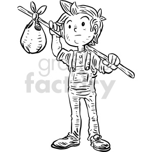 runaway kid black and white clipart clipart. Commercial use image # 414784