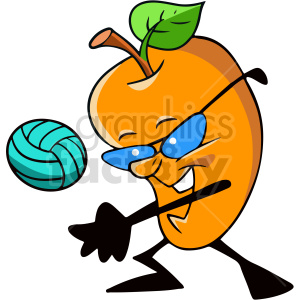 fruit playing volleyball vector clipart clipart. Commercial use image # 414954