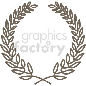 clipart - outlined laurel wreath design vector clipart.