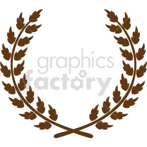 clipart - natural brown laurel wreath design vector clipart.