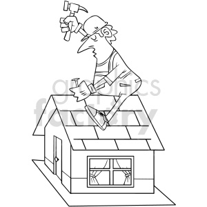 cartoon roofer black and white clipart clipart. Commercial use image # 415032