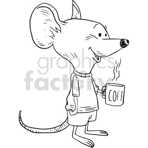 clipart - cute cartoon mouse having coffee vector graphic.