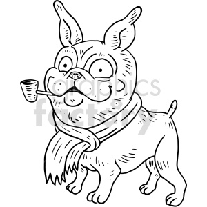 doggie smoking pipe vector graphic clipart. Commercial use image # 415147