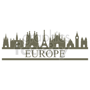 Europe buildings skyline vector art clipart. Commercial use image # 415693