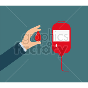 hand holding drop of blood vector clipart. Commercial use image # 415852